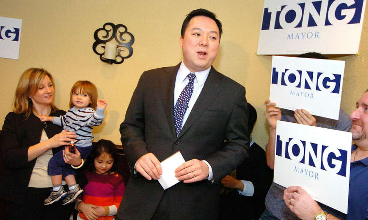Hour File Photo Alex von Kleydorff. State Rep William Tong surrounded by family and supportersannounces his run for Stamford Mayor at Sorrento Restaurant in Stamford Monday