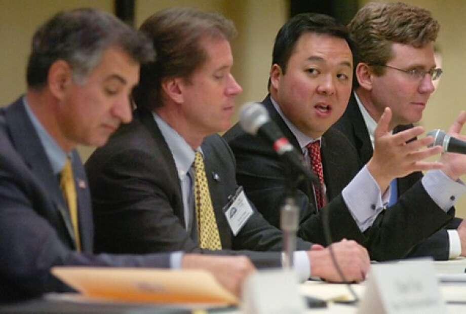 State Representative William Tong speaks on the Governor''s budget plans during the Stamford Chamber of Commerce Legislative Luncheon at the Marriott hotel Friday.