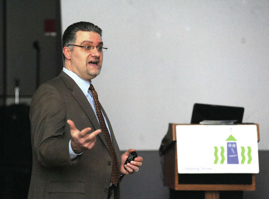 "Richard Colangelo, senior assistant state's attorney in the Judicial District of Stamford/Norwalk, speaks during the ""Internet Safety and Digital Permanence"" forum at Stepping Stones Museum For Children on Sunday. / (C)2011 {your name}, all rights reserved"