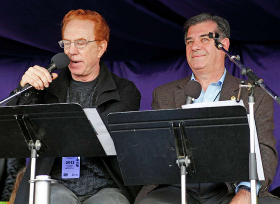 """""""The Late Show with David Letterman"""" announcer Alan Kalter speaks to the crowd as Master of Ceremonies alongside Mayor Michael Pavia during the annual UBS Parade Spectacular in Stamford Sunday afternoon. Hour Photo / Danielle Robinson"""