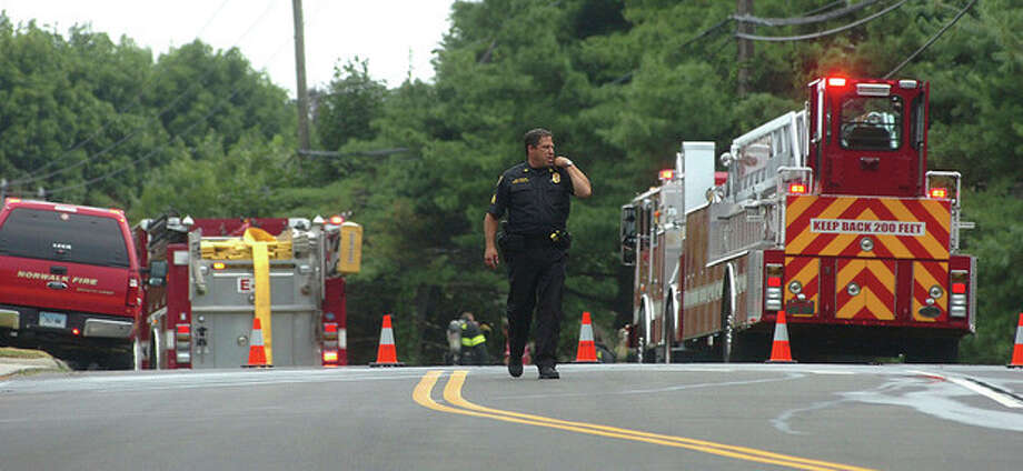 Hour Photo/Alex von Kleydorff. Richards Ave is closed to Flax Hill rd during the gas leak / 2011 The Hour Newspapers