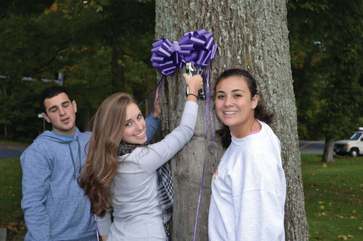 From left to right, Weston Teen PeaceWorks members Nick Fino, Megan Richardson and Gabby Gonzalez. Contributed photo