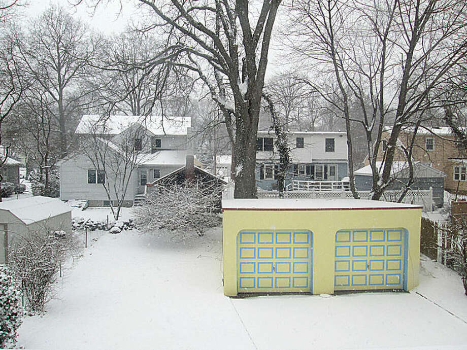 "Sabine Schweizer in East Norwalk sent in this photo on Friday morning. ""No matter the weather, ourÊgarage always looks sunny,"" Sabine wrote."