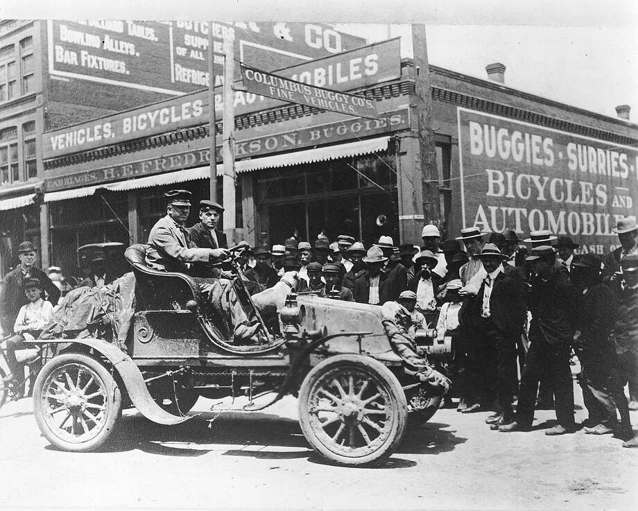 In 1903, physician Horatio Nelson Jackson (at wheel) and his driving partner, Sewall K. Crocker, became the first people to drive a newfangled automobile across the United States, starting in San Francisco. Photo: RacingOne, ISC Archives Via Getty Images