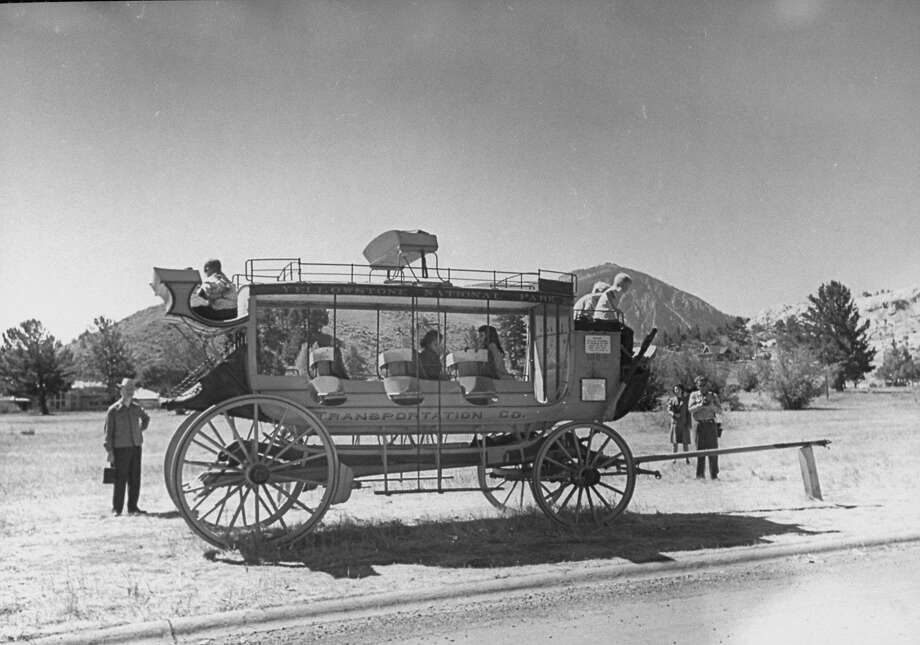 A stagecoach at Mammoth Hot Springs Hotel, Yellowstone National Park. Photo: Alfred Eisenstaedt, The LIFE Picture Collection/Getty Images