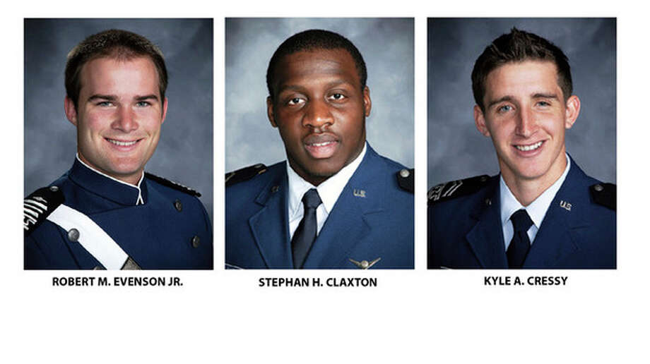 The Air Force Academy provided these undated photos of cadets Robert M. Evenson Jr., left, Stephan H. Claxton and Kyle A. Cressy. All are charged with sexual assault and face hearings in the coming weeks. Nine years after a sexual assault scandal at the Air Force Academy sent shock waves across the military, the Defense Department reported a spike in newly reported assaults at the school and the Air Force filed sex-crime charges against the three cadets. (AP Photo/Air Force Academy) / Air Force Academy