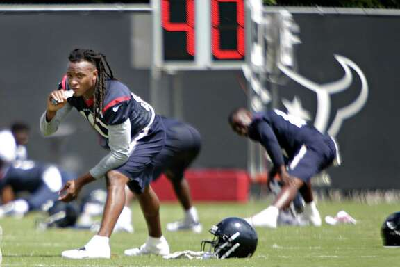 DeAndre Hopkins warms up during mini camp at the Texans practice facility at NRG Stadium, Tuesday, June 14, 2016, in Houston.