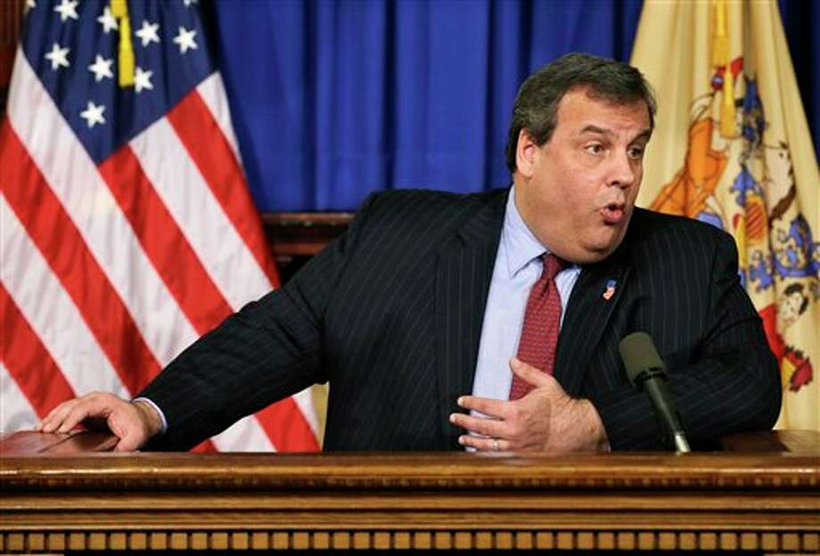 New Jersey Gov. Chris Christie answers a question in Trenton, N.J. on Friday, Feb. 8, 2013 during a news conference about the state's plans for a predicted snow storm. A blizzard warning for northeast New Jersey called for as much as 14 inches of snow. Up to 10 inches were possible for most of the state, with 2 to 5 inches in south Jersey. (AP Photo/Mel Evans) / AP
