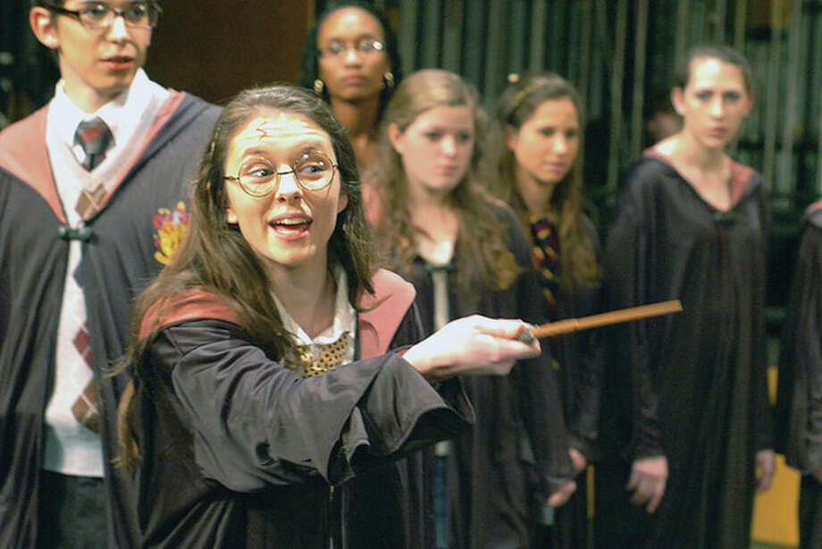 """Photo by Alex von Kleydorff. Eleanor Clifford plays """"Mary Potter"""" in the upcoming Wilton High School Senior Show """"Mary Potter and the Race to Nowhere."""" The parody runs from Feb. 9 through Feb. 11 at the high school's Clune Auditorium. For information or tickets, call (203) 834-4844 or email whstix@wilton.k12.ct.us. / © 2012 The Hour Newspapers"""