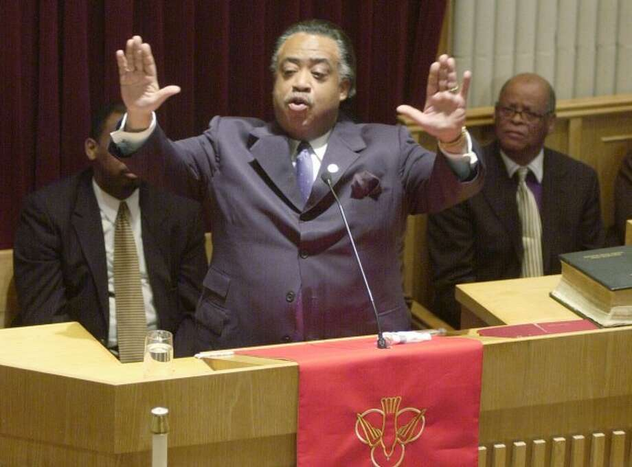 The Rev Al Sharpton visits the Grace Baptist Church in Norwalk to stump for his presidential candidacy. -- File photo
