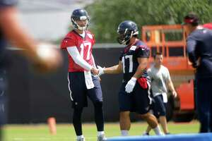 Texans quarterback Brock Osweiler warms up during mini camp at the Texans practice facility at NRG Stadium, Tuesday, June 14, 2016, in Houston.