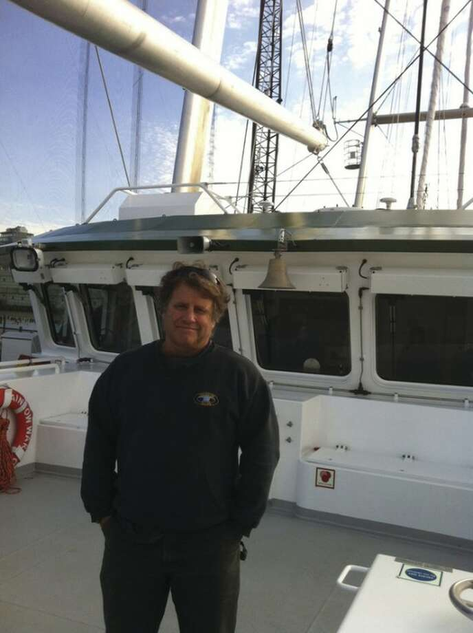 Contributed photo Norwalker and environmental activist Peter Willcox adds another achievement to his resume on Saturday when Greenpeace's new vessel Rainbow Warrior III made its debut on the shores of the United States.
