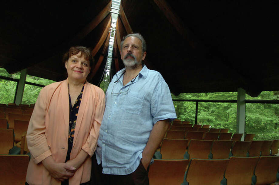 Photo by Alex von kelydorff. David Vita, right, director of Social Justice at the Unitarian Church in Westport, with Marjorie Partch in the church's sancuary. / 2011 The Hour Newspapers