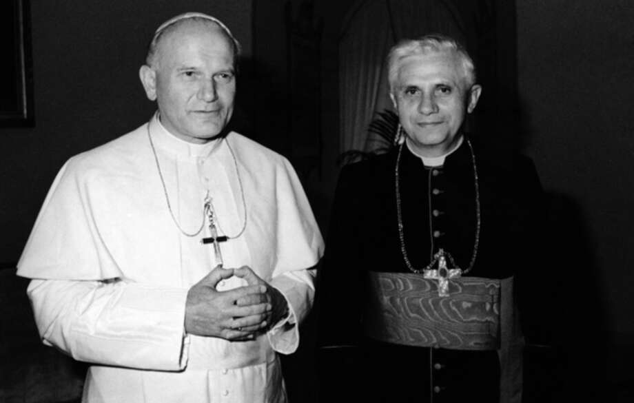 FILE - In this 1979 file photo, Pope John Paul II, left, poses with Cardinal Joseph Ratzinger of Munich, who was named on Nov. 25, 1981, Prefect of the Congregation for the Doctrine of the Faith and President of the Pontifical Biblical Commission and of the International Theological Commission, the former Holy Office. Ratzinger was elected Pope, April 19, 2005 and chose Benedict XVI as his papal name. Pope Benedict XVI announced Monday, Feb. 11, 2013, he would resign Feb. 28 because he is simply too old to carry on. (AP Photo/File) / AP