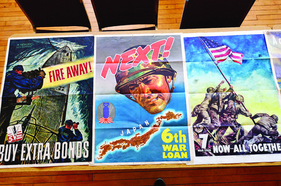 Hundreds of magazines, newspapers, photos and propaganda from the World War II era on display at theGeorgetown Community Association Center, wher many of the exhibitions are taken from area residents' personal collections. Hour photo / Erik Trautmann