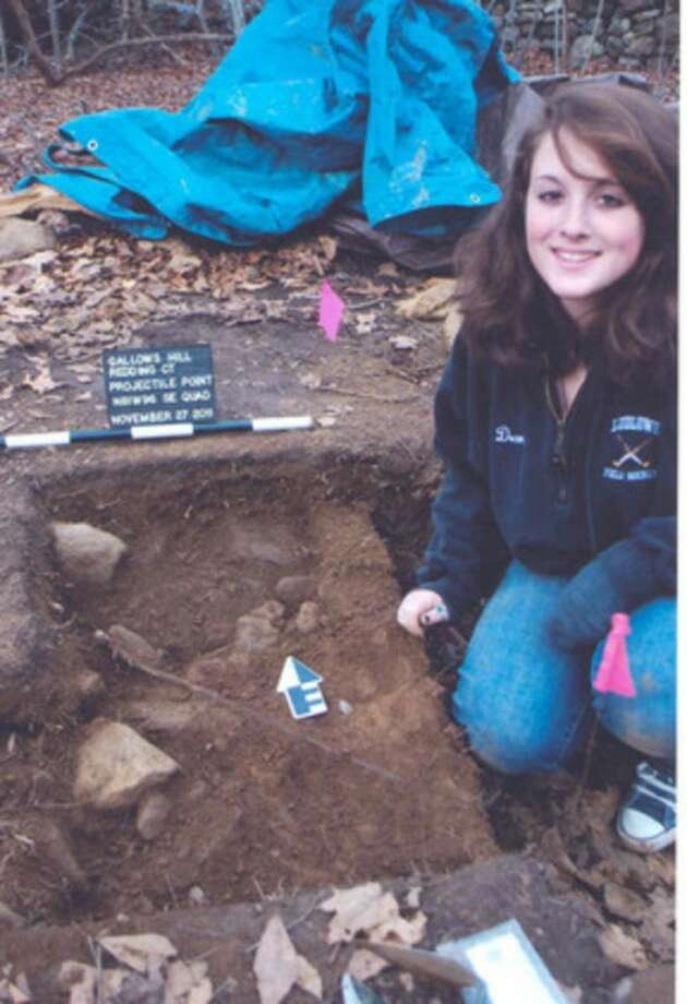 Contributed photo Chelsea Dean shows where she discovered an artifact while digging for an archaeology course.