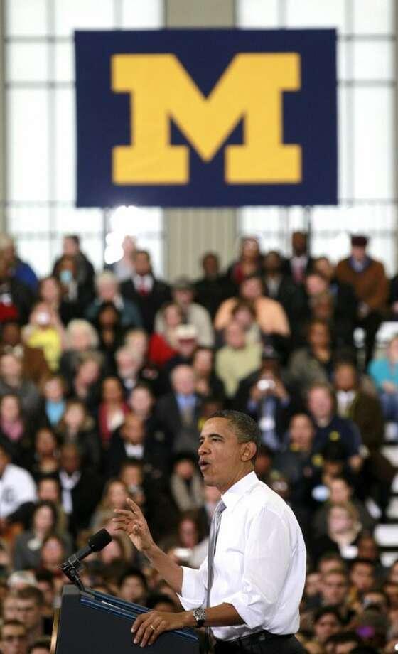 President Barack Obama speaks at the University of Michigan's Al Glick Field House, Friday, Jan. 27, 2012, in Ann Arbor, Mich. (AP Photo/Haraz N. Ghanbari)