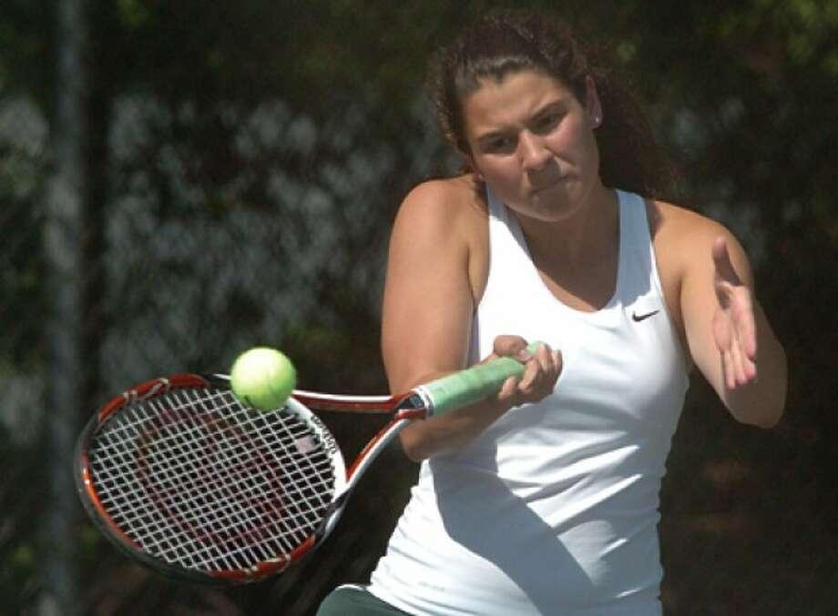 Norwalk High School girl''s tennis Merideth Pramer vs. Brien McMahon on Wednesday. hour photo/matthew vinci