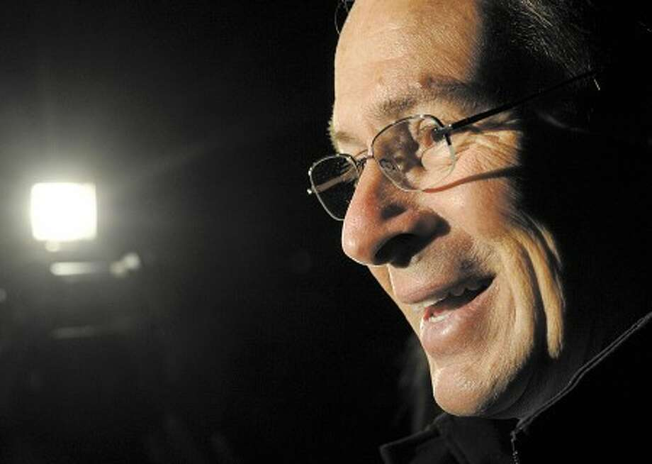Governor-elect Dan Malloy smiles as he interviewed after voting in Stamford on Tuesday, Nov. 2, 2010. (AP Photo/Jessica Hill)