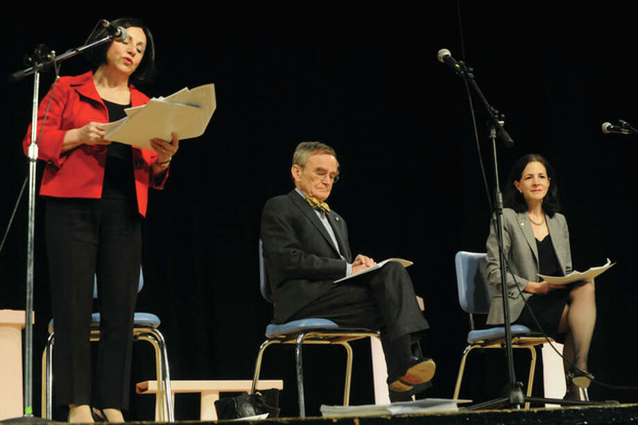 State Senator Toni Boucher, State representitives, John Hetherington and Gayle Lavielle at Middlebrook School on Tuesday address the state budget and get public reaction. photo/matthew vinci / (C)2011, The Hour Newspapers, all rights reserved