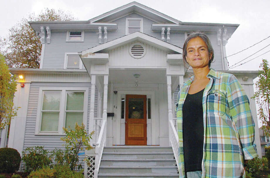 Shalini Madaras, a Wilton resident, was instrumental in the creationg of this home for female veterans, The PFC'ÄàNicholas A. Madaras Home, in Bridgeport. The home will officially open Friday. photo / Erik Trautmann / (C)2011, The Hour Newspapers, all rights reserved