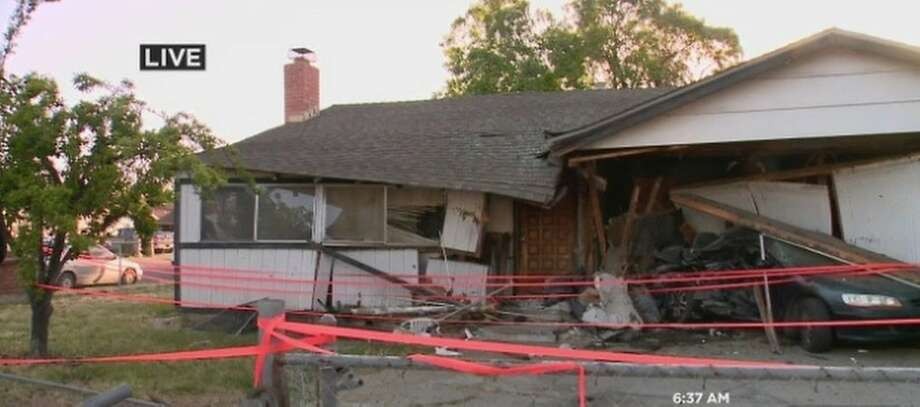 This house just off Interstate-680 in San Jose was severely damaged when a pickup truck crashed into it late Monday night. (Screen-shot photo courtesy of KPIX 5.) Photo: CBS SF Bay Area