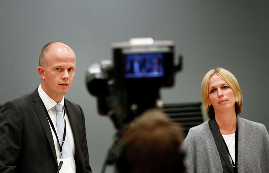 "Prosecutors Svein Holden, left, and Inga Bejer Engh at the press conference after day three of the trial against Anders Behring Breivik, in Oslo Wednesday, April 18, 2012. Norway's prison terms are ""pathetic,"" mass killer Anders Behring Breivik declared Wednesday in court, claiming the death penalty or a full acquittal were the ""only logical outcomes"" for his massacre of 77 people. The right-wing fanatic said he doesn't fear death and that militant nationalists in Europe have a lot to learn from al-Qaida, including their methods and glorification of martyrdom. (AP Photo/Scanpix, Erlend Aas) / Scanpix"