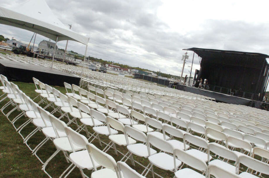 The main stage at Veterans Park in Norwalk is set to go for the 2010 Oyster Festival. Acts performing include 10,000 Maniacs and Wang Chung. hour photo/matthew vinci / (C)2010 The Hour