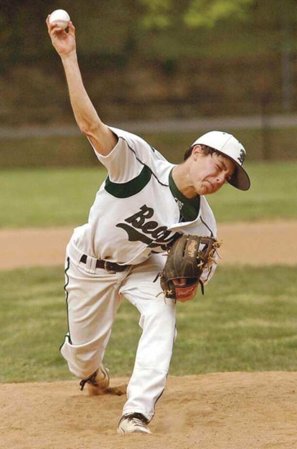 Hour photo/Erik TrautmannNorwalk's Lukas LaBry delivers a pitch during his complete game victory over Ludlowe Friday.