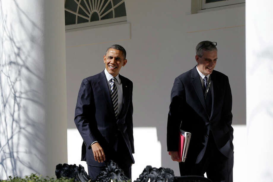 President Barack Obama walks with White House Chief of Staff Denis McDonough down the West Wing Colonnade of the White House in Washington, Tuesday, Feb. 12, 2013, ahead of tonight's State of the Union speech on Capitol Hill. (AP Photo/Charles Dharapak) / AP