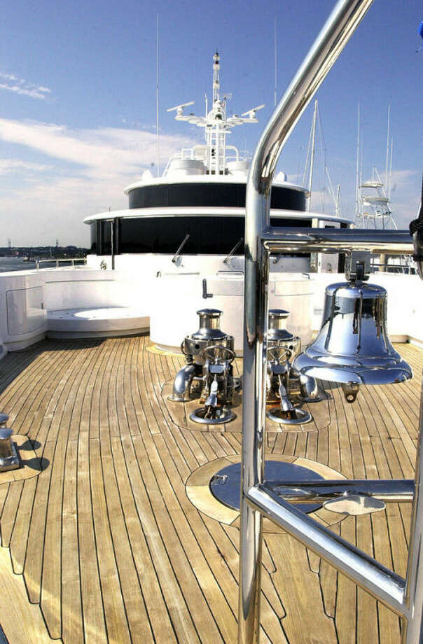 Hour photo / Matthew VinciThe bow of a large boat docked at Norwalk Cove Marina recently is seen in this file photo. The Bridgeport-Stamford-Norwalk area has the highest concentration of wealthy households in the United States.
