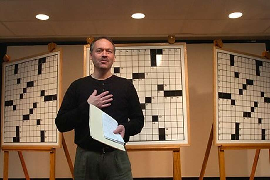 New York Times Crossword Puzzle Editor Will Shortz presides of the 12th annual Westport Library Crossword Puzzle Contest Saturday. Hour photo / Erik Trautmann