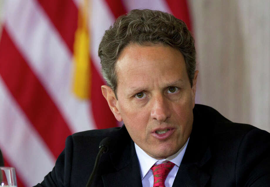 FILE - In this April 3, 2012 file photo, Treasury Secretary Timothy Geithner speaks at the Treasury Department in Washington. An aging population and an economy that has been slow to rebound are straining the long-term finances of Social Security and Medicare, the government's two largest benefit programs. Those problems are getting new attention Monday as the trustees who oversee the massive programs release their annual financial reports. (AP Photo/Manuel Balce Ceneta, File) / AP
