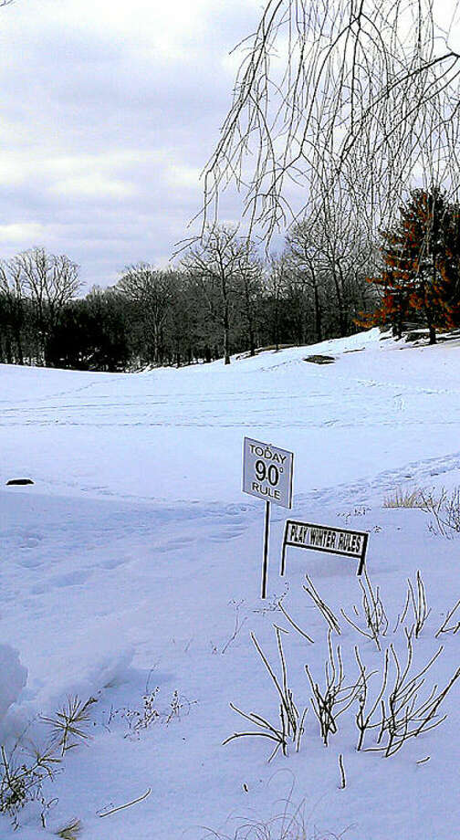 Steve Wallerstein snapped this shot at Oak Hills Park on Tuesday. Winter Rules, indeed.