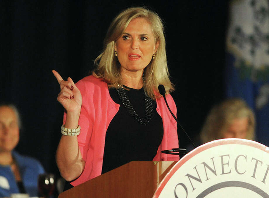 Hour photo / Matthew VinciAnn Romney, wife of Republican presidential candidate Mitt Romney, gives the keynote address at the Prescott Bush Awards dinner Monday night at the Stamford Marriott Hotel.