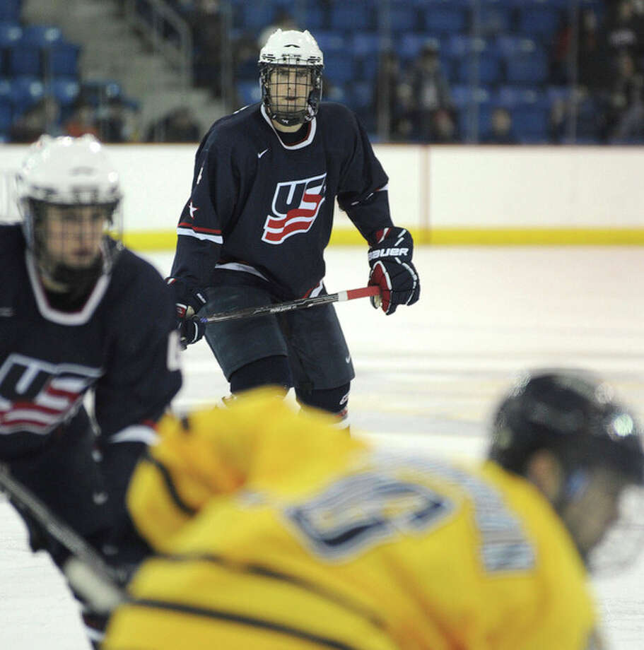 Hour Photo/John Nash WestportÕs Michael Paliotta played with Team USAÕs U-19 team this past winter, but he impressed enough to be drafted by the Chicago Black Hawks.