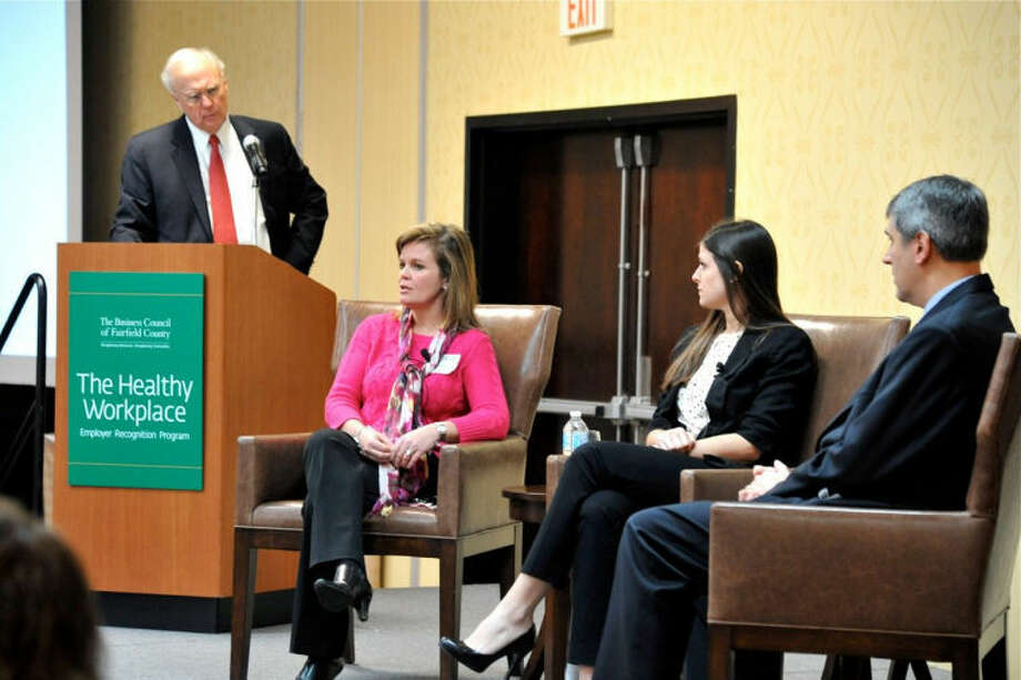 Panelists at the The Healthy Workplace Employer Recognition Program: Danielle Ruggiero, VP Catalog Merchandising, Really Good Stuff; Rachel Grossman, HR Specialist, The Ashforth Company William Pokluda, Senior Mgr, Global Benefits & Mobility, Daymon Worldwide, Inc. Ê Photo by John Vecchiolla Photography