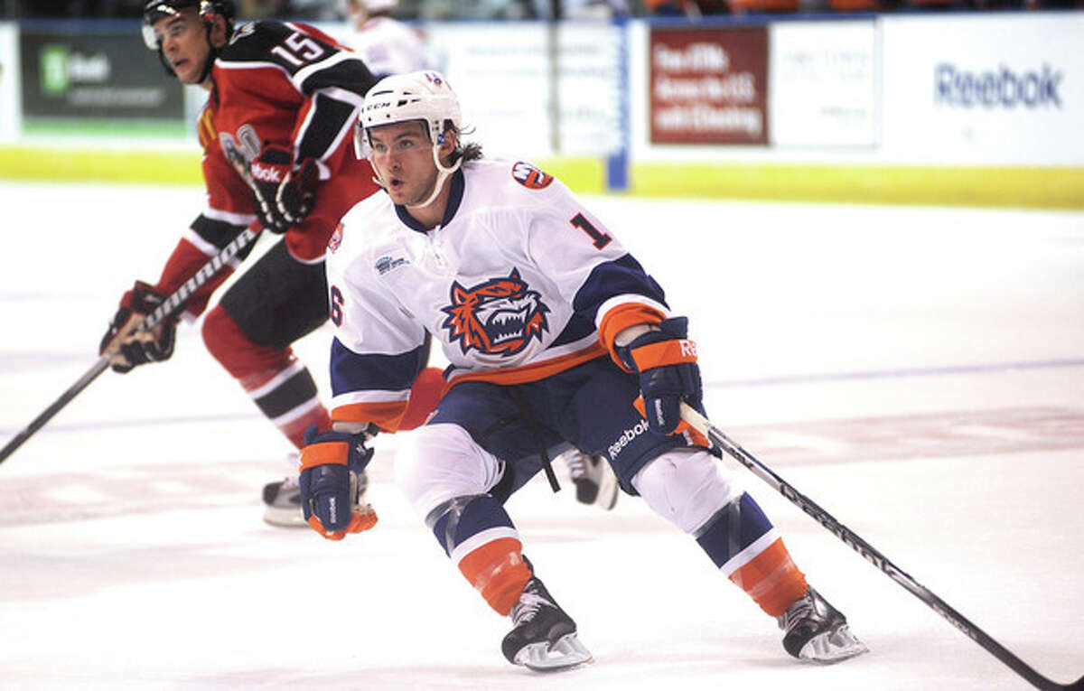 Hour photo/John Nash Sean Backman of the Bridgeport Sound Tigers, who grew up in Cos Cob, returns to the state as a second-year professional hockey player.