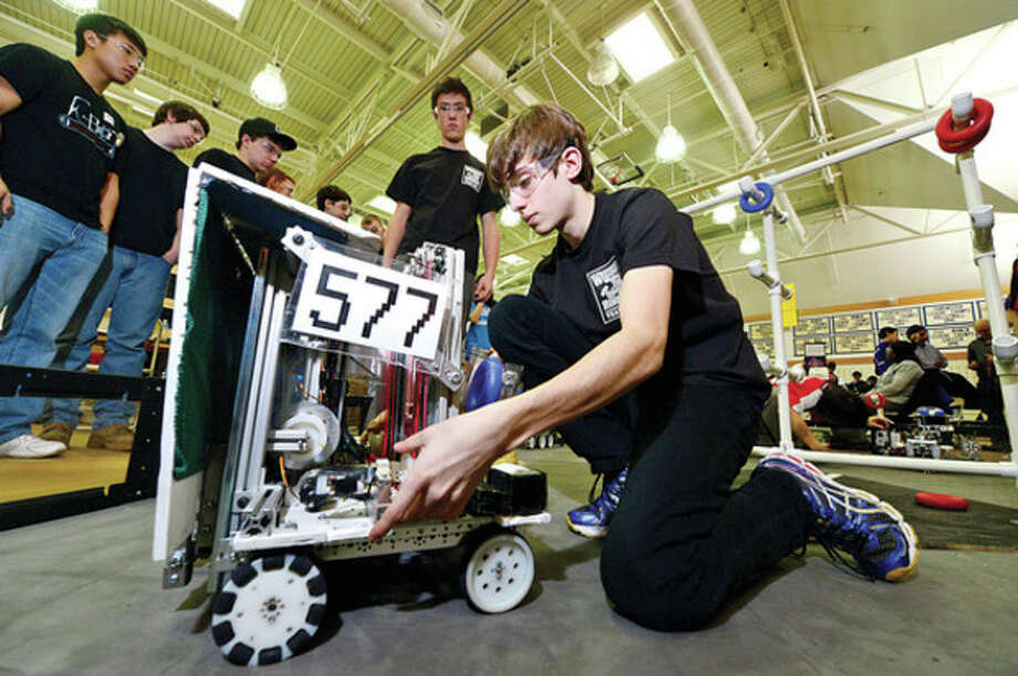 Staples High School junior Max Liben and his team prepare their robot as they join students 28 robotics teams from schools in Connecticut, New York, New Jersey and Rhode Island and compete in Connecticut's FIRST® Tech Challenge (FTC) State Championship Tournament on Saturday at Greens Farms Academy in Westport.Hour photo / Erik Trautmann / (C)2012, The Hour Newspapers, all rights reserved
