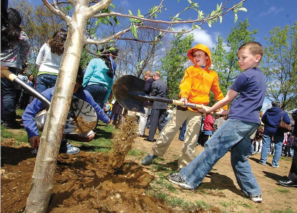 Hour Photo/ Alex von Kleydorff. Naramake 2nd graders Grady Bosch and Seamus Herlihy share the shovel while helping other students finish planting apple trees at the school for Arbor Day.