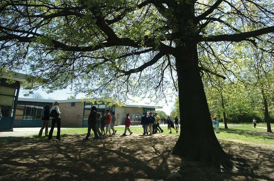Hour Photo/ Alex von Kleydorff. Studenats at Naramake School line up for free seedlings under a big shade tree on Arbor Day at the school