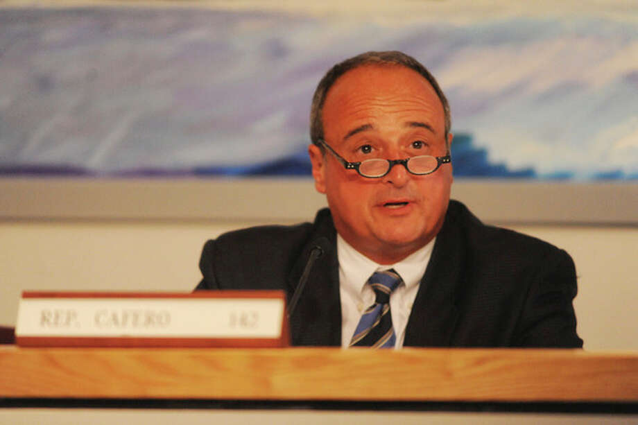Representitive Larry Cafero speaks at the Reapportionment Committee meeting Monday at Norwalk City Hall. hour photo/matthew vinci / (C)2011, The Hour Newspapers, all rights reserved