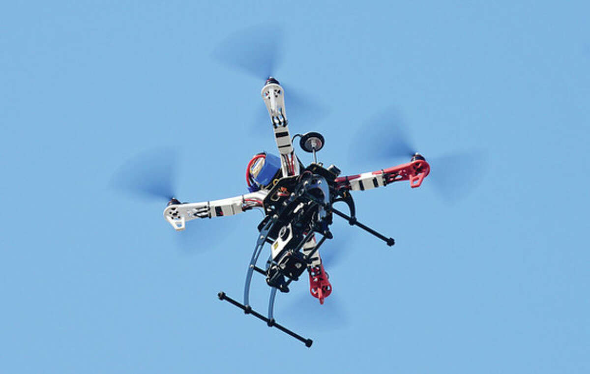 """A """"drone"""" aerial helicopter goes airborne."""