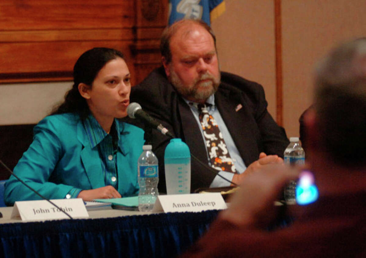 At large candidates for the Common Council including Anna Duleep and Doug Hempstead debate at the Norwalk City Hall Community Room Thursday night. Hour photo / Erik Trautmann