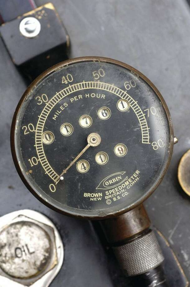 Hour Photo/ Alex von Kleydorff. The speedometer on the 1915 Harley Davidson Twin