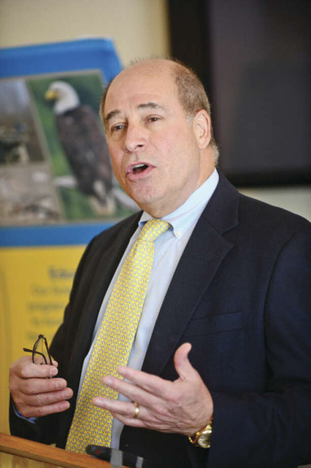 Robert Matinez, President of CT Audubon Society, speaks as the Society delivers its annual State of the Birds report, The Seventh Habitat and the Decline of Our Ariel Insectivores Friday at the CT Audubon Society Center at Fairfield.Hour photo / Erik Trautmann
