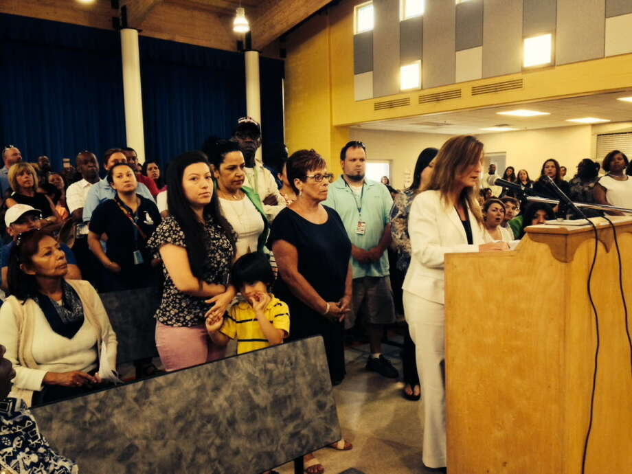 Supporters behind her, Lighthouse Director Tammy Pappa speaks to Bridgeport Board of Education. June 13, 2016 Photo: Linda Conner Lambeck / Linda Conner Lambeck