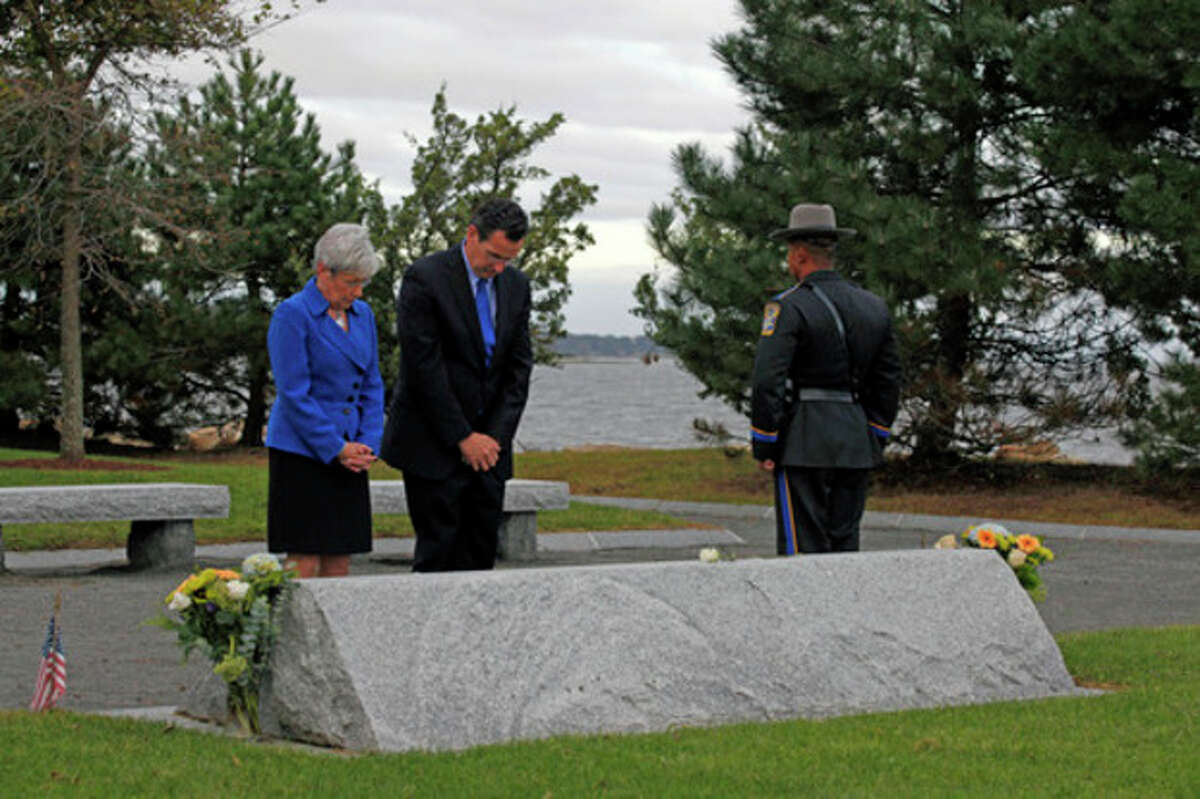 CT Lt. Governor Nancy Wyman and Governor Dannel P. Malloy say a prayer during the Connecticut Remembers Steptember 11th Memorial Service held at Sherwood Island State Park Thursday evening.