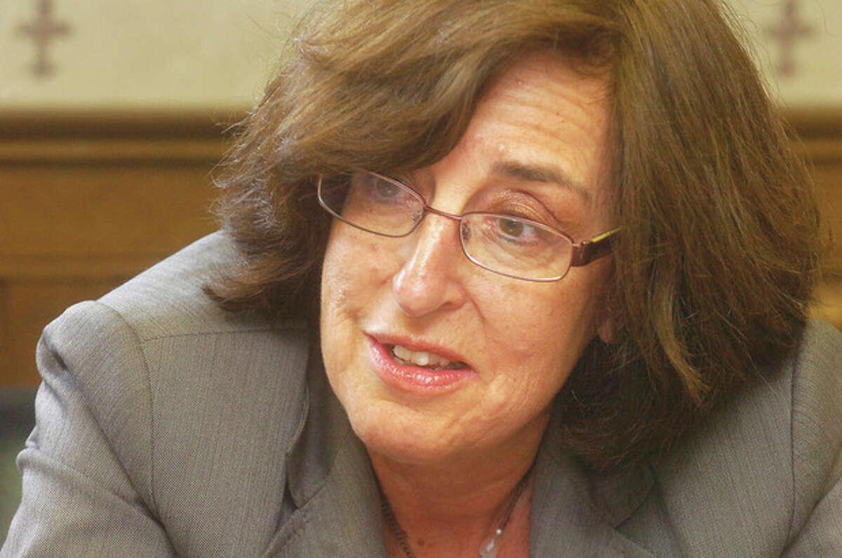 Photo/Alex von Kleydorff. Norwalk Superintendent of Schools Susan Marks speaks to The Hour Newspapers Editorial Board