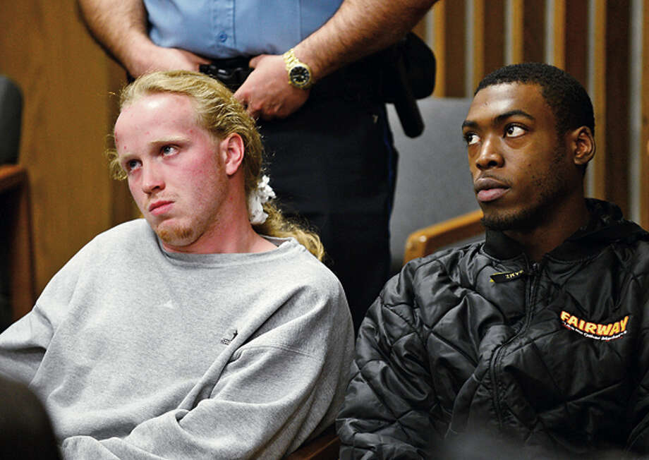 Kyle Frietag and Terrence Baxter were arraigned at close to 1 million dollars each for the drive-by shooting and murder last night on Fort Point St. in Norwalk. Hour photo / Erik Trautmann / (C)2012, The Hour Newspapers, all rights reserved